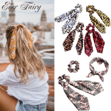 Girls Vintage Printed Hair Band Ties For Women Ladis Elastic Bow Accessories New Fashion Boho Scrunchie Hairband
