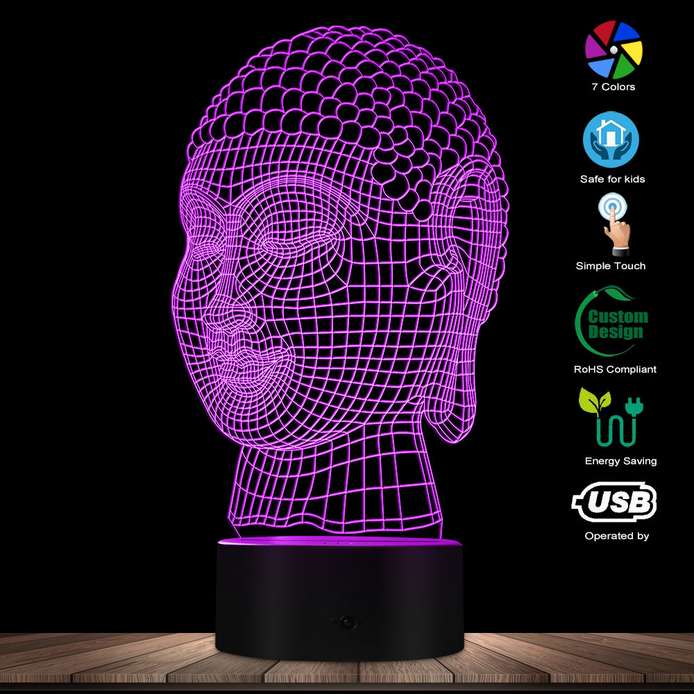 Modern 3D Budda Head Night Light Mediation Gift Buddhist Lighting Decor Peaceful Relaxing LED Table Lamp Zen Room Mood Light