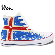 Wen Design Custom Hand Painted Shoes Iceland Flag High Top Canvas Sneakers Birthday Gifts for Boys Girls