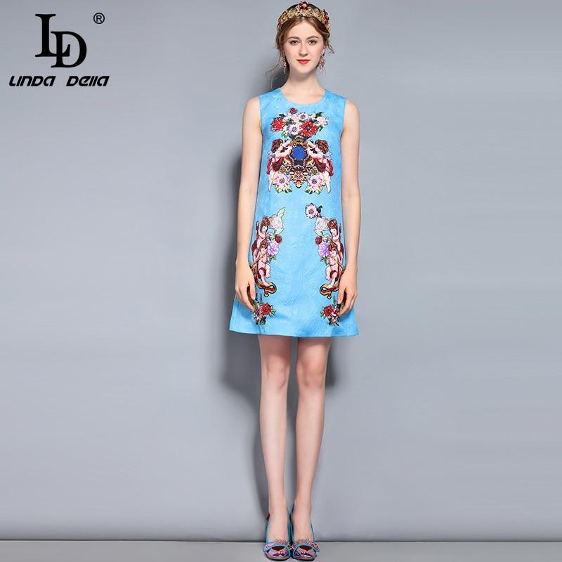 bec5e813569 LD LINDA DELLA New 2018 Fashion Runway Summer Dress Women s Sleeveless  Luxury Beading Blue Angel Floral Print Short Dress-in Dresses from Women s  Clothing ...