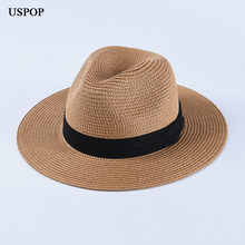 USPOP 2019 Newest sun hats women men wide brim straw casual summer beach hat unisex jazz