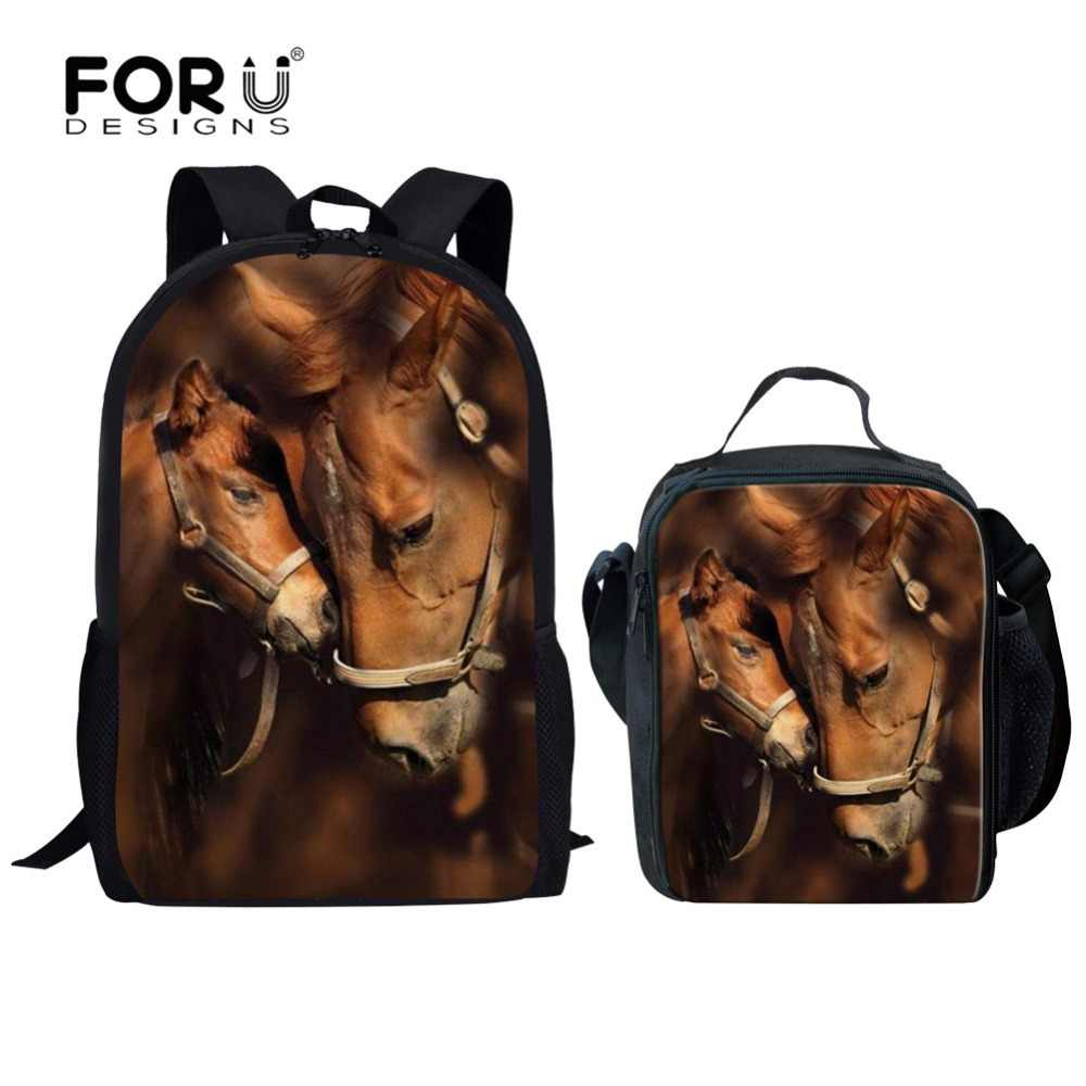 51020577bc88 FORUDESIGNS 2 pcs Set School Bag Set Silently Horse for Teenage Boys Girls  School Backpack