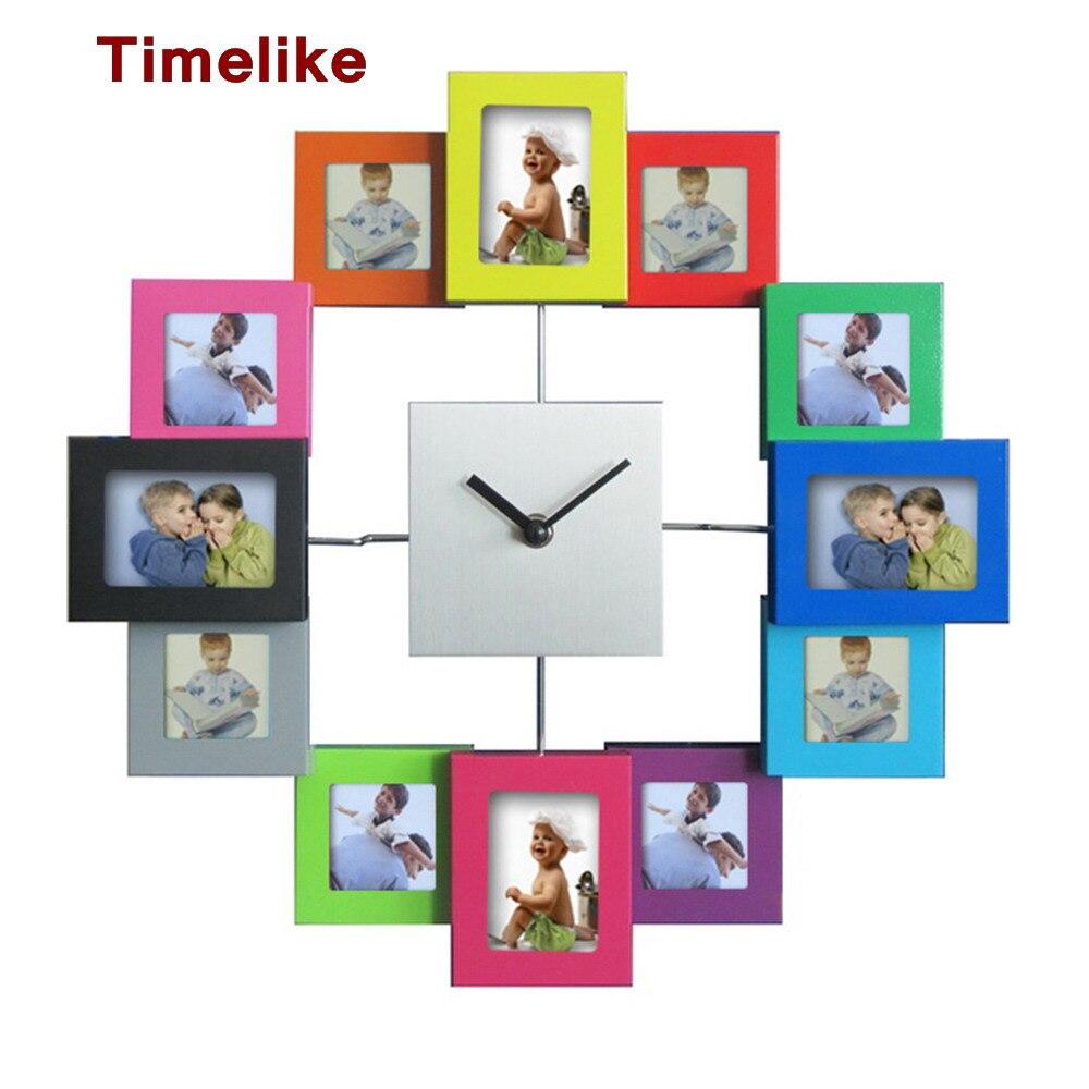 Velké dekorativní nástěnné časové hodiny 12 obrázků fotorámeček hodiny křemenný mechanismus horloge wathces