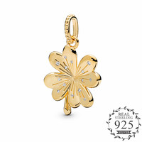 Shine Lucky Four Leaf Clover Dangle Charm Fits Pandora Bracelets Original 925 Sterling Silver Pendant DIY Jewelry 2019 Spring