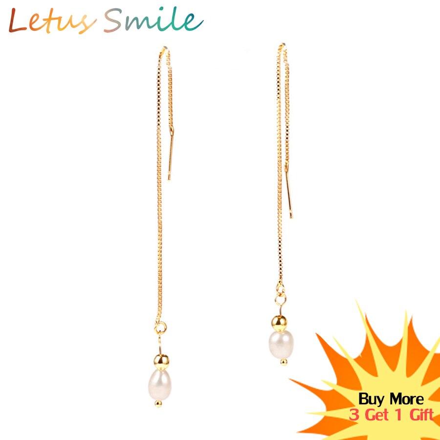 Fashion Nature Pearls Drop Earring Gold Long Ear Line Earrings for Women Boho Dangle Fine Jewelry Gift Brincos 2019