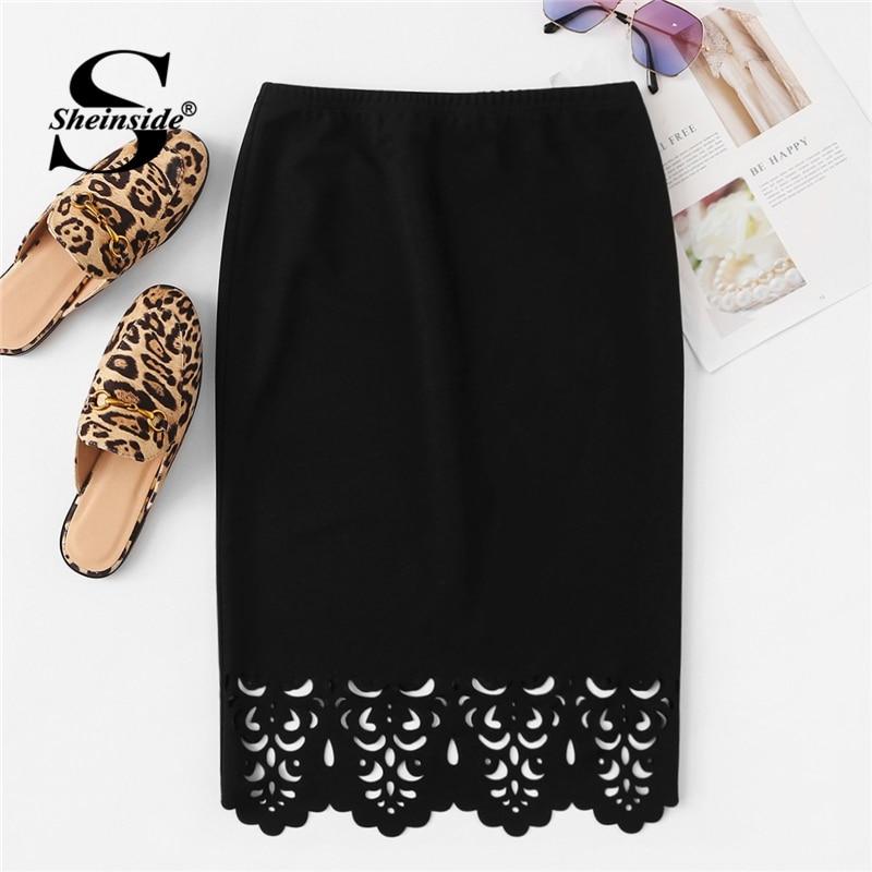 Sheinside Scallop Edge Laser Cut Pencil Skirt Women Elegant Style Black Skirts 2019 Summer Office Ladies Workwear Solid Skirt