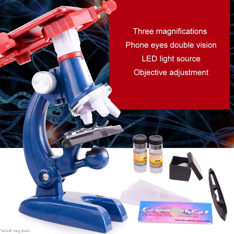 100X-1200X Biological Microscope Kit W/ Mobile Phone Holder Educational Toy Gift