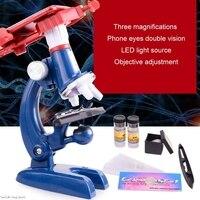 100X 1200X mikroskop biologiczny zestaw w/uchwyt telefonu komórkowego zabawka edukacyjna prezent w Mikroskopy od Narzędzia na