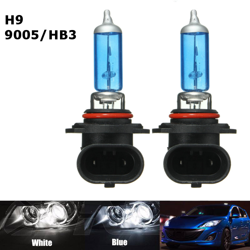 2pcs H9 9005 HB3 65W 12V Headlight Lamp Xenon Dark Blue Glass Fog Light Car Halogen Light Bulb Replacement Lamp Car Light Sourse  new 1set hb3 9005 12v 65w 3000 3500k amber yellow car halogen xenon headlight light bulb lamp with retail box bengear dropship