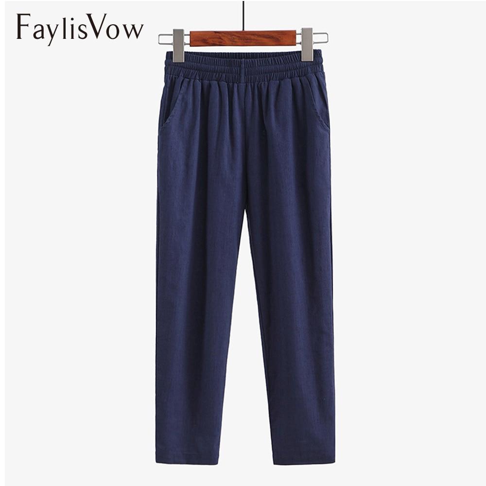 Faylisvow 4XL 5XL Big Size Loose High Waisted Pants Spring Autumn Long Linen Pants Women Solid Ladies Office Capris Harem Pants