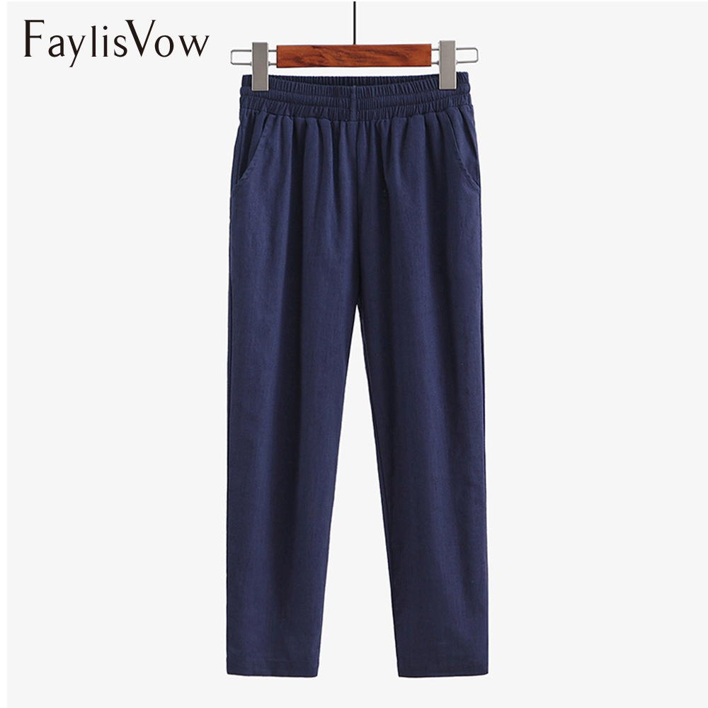 Faylisvow 4XL 5XL Big Size Loose High Waisted   Pants   Spring Autumn Long Linen   Pants   Women Solid Ladies Office   Capris   Harem   Pants