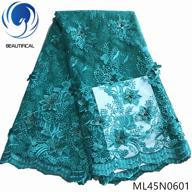 BEAUTIFICAL nigerian 3d embroidery lace 5 yards lace dresses women bead lace fabric 3d ML45N06