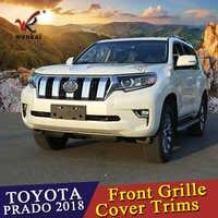 WENKAI Para 6 PCS Frente Chrome Centro Grade Dianteira Tampa Trims Etiqueta Para Toyota Land Cruiser Prado LC150 Acessórios 2018