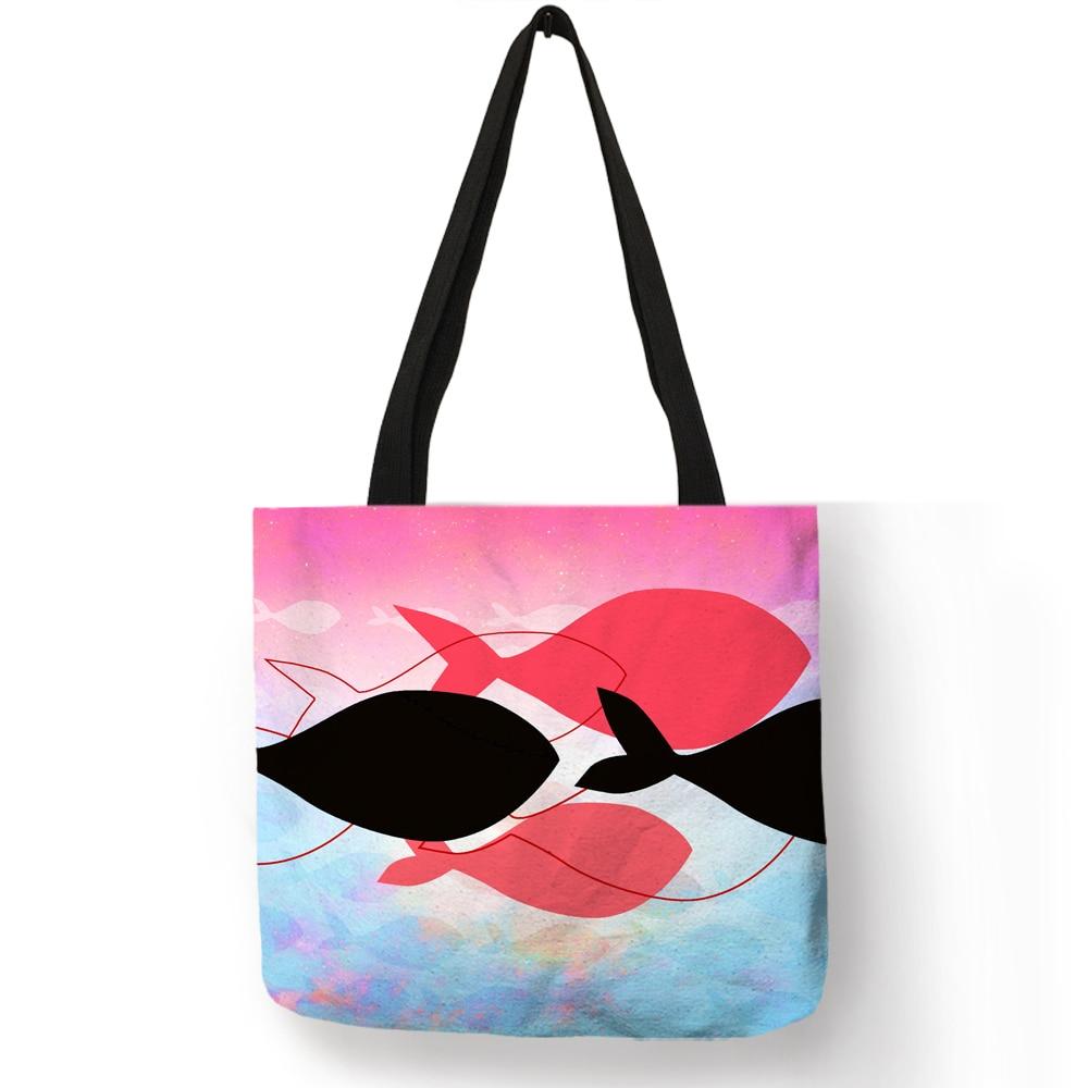 Креативный дизайн Sac Femme Сумочка Минималистичная Раскрашенная красочная сумка через плечо с рыбкой эко льняная Женская модная многоразовая