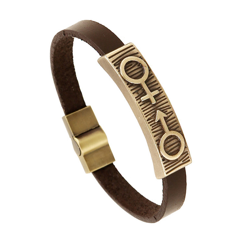 ER Female Male Symbol Bracelet Man Leather Punk Magnetic Copper Braslet Pulsera Pulseira Masculina Biker Jewelry Womens LB167