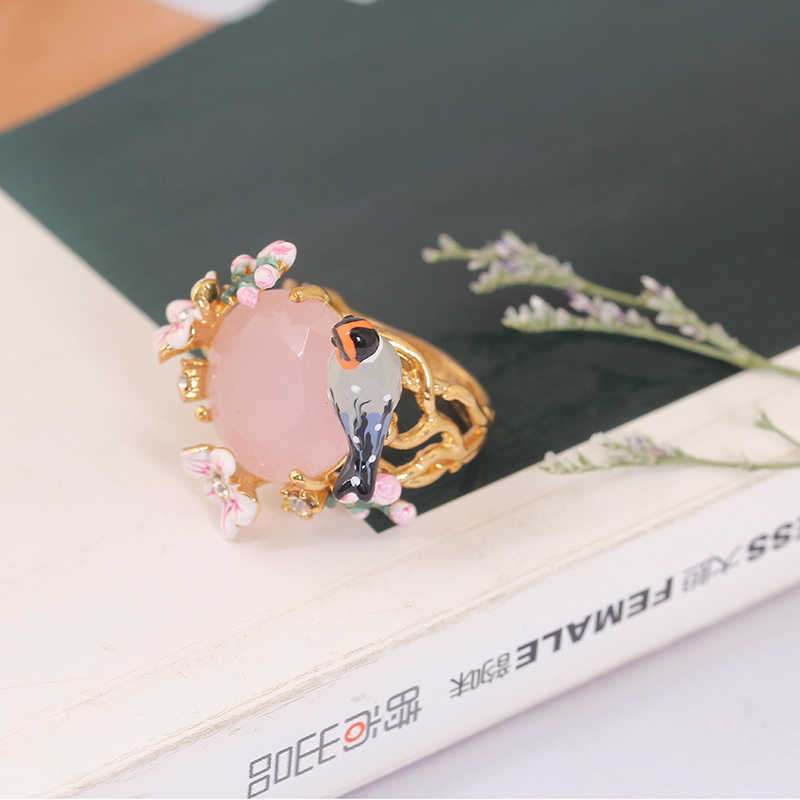 European  Romantic Cherry Birdie Set Ring Gold Really Plated Prevent Allergy France Fashion Women Jewelry