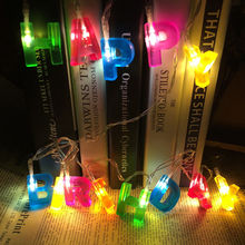 1.5m Holiday lighting string Christmas light 14 LED Color Happy Birthday Greeting String Fairy Lights For Party