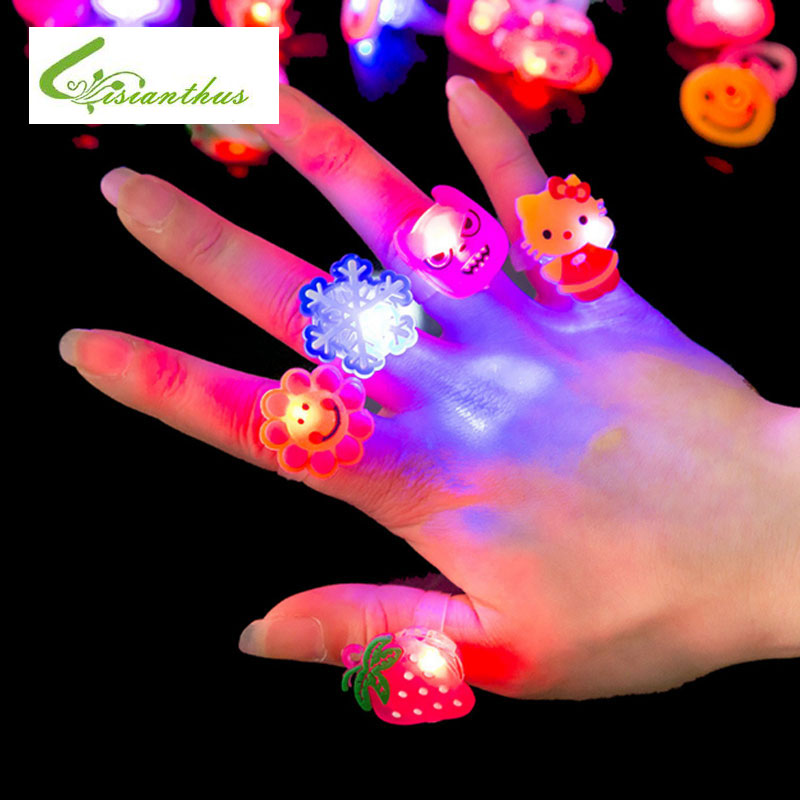 10pcs/lot Kids Cartoon LED Flashing Light Up Glowing Finger Ring Electronic Christmas Halloween Baby Fun Toys Gifts for Children