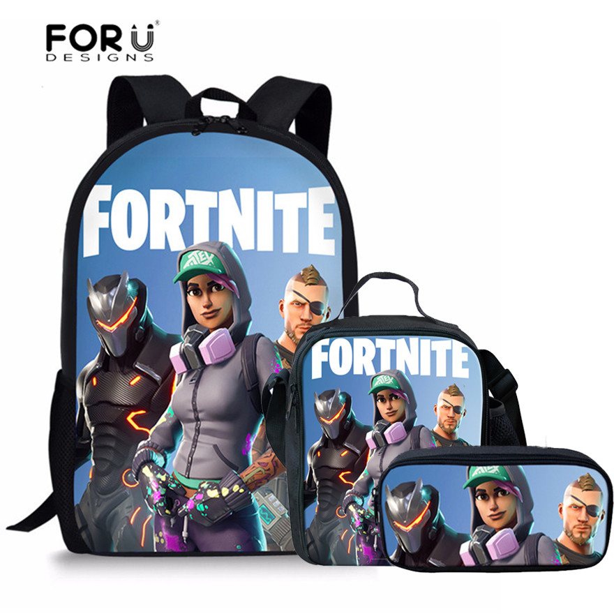 48ca6d102117 FORUDESIGNS Fortnite Games Printing School Bags Set 3pcs Primary School  Backpack for Boys Girls Schoolbag Teen ...