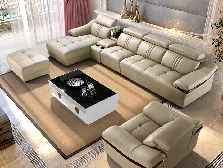 Imported sofas ivory sectional living room 6pieces set for Ivory couch living room ideas