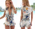 AQ119 Mamelucos Womens Jumpsuit Verano de Las Mujeres V Profundo Cuello Floral de La Vendimia de Una sola Pieza Mono Short Pant