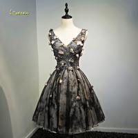 Loverxu Charming Embroidery V neck Appliques A Line Cocktail Dresses 2019 Beaded Lace Up Celebrity Dresses Party Gown Plus Size