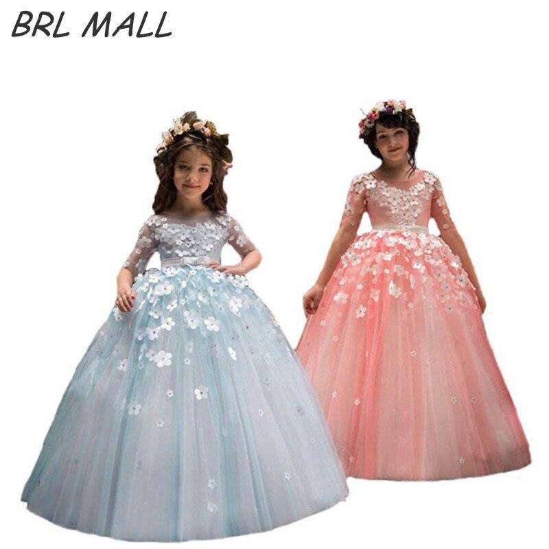 Lovely Sky Blue 3/4 Sleeves   Flower     Girl     Dresses   2018 Cute Kids Ball gown 3D   Flowers     Girls   Pageant   Dresses   communion   dresses