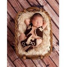 2016 вязание крючком вязать ковбой рукавов одежды и сапоги фотография реквизит для новорожденных детей аксессуары наряды