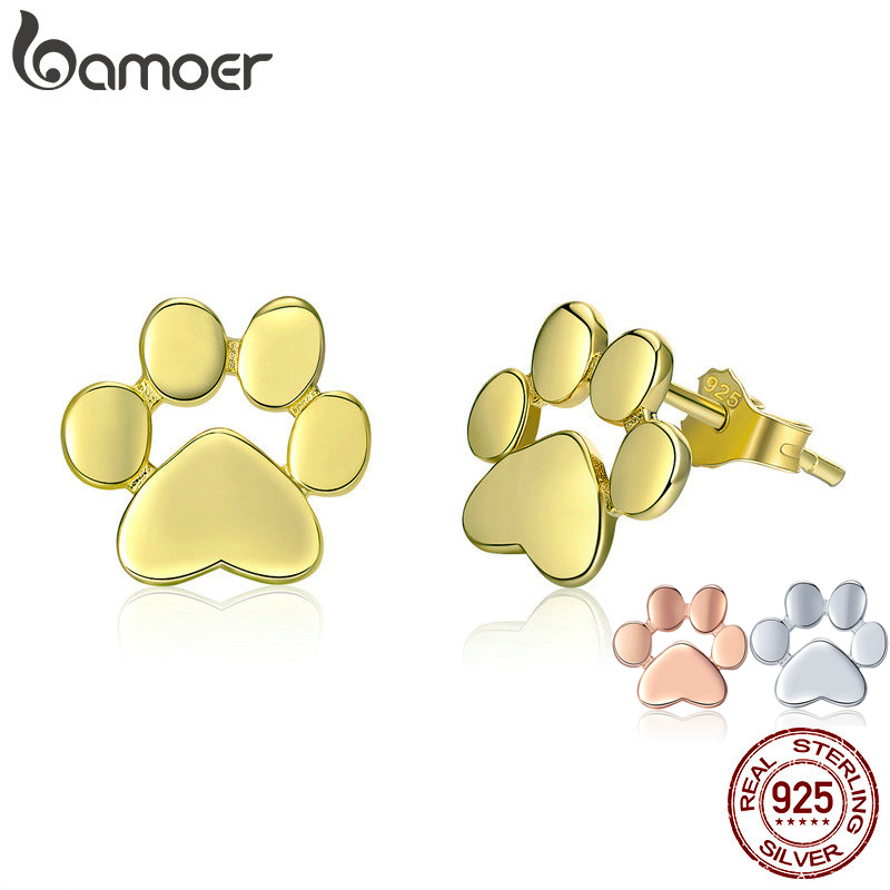 BAMOER Cat Earrrings 925 Sterling Silver Animal Dog Cat Footprints Stud Earrings for Women 3 Colors Gold Color Jewelry SCE407-4 creative 3d animal earrings cartoon cat kitten lovely ear stud earrings jewelry