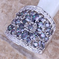 Graceful Rainbow & White CZ Silver Plated  Ring Size 6 / 7 / 8 / 9 / 10 / 11 S0217