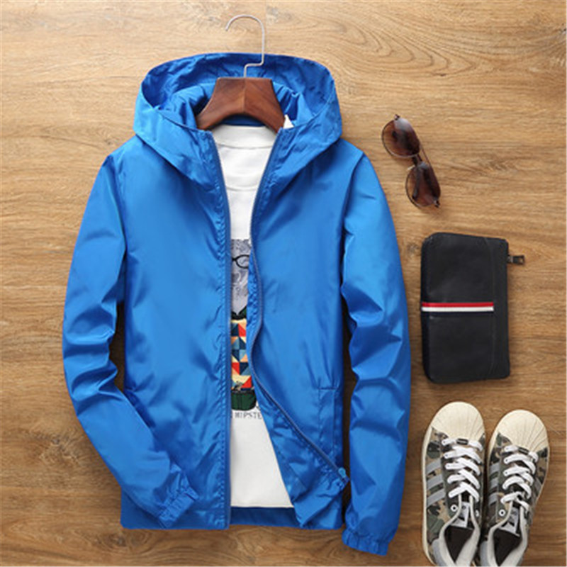 New Unisex Men Women Cute Red Blue Solid Color Jackets Us Spring Autumn Students Casual Zipper Hooded Waterproof Outerwear Coats