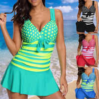 2019 Women Sexy Swim Dress Neon Striped Cute Polka Dot Print One Pieces V-neck Swimming Suits Plus Size XL to 5XL Bathing suits