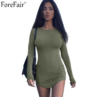 2016 Autumn Slim All Match Women Mini Dress Long Sleeve Round Neck Sexy Clubwear Bodycon Sheath