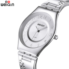 WEIQIN Brand Silver Women Watches 2017 New Luxury Stainless Steel 7mm Ultra Slim Quartz Watch Woman Fashion Elegant Montre Femme