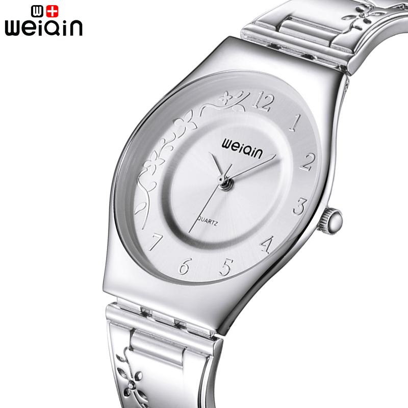 Prix pour Weiqin argent femmes montres 2016 de luxe de haute qualité montre femme en acier inoxydable ultra mince quartz montre femme montres
