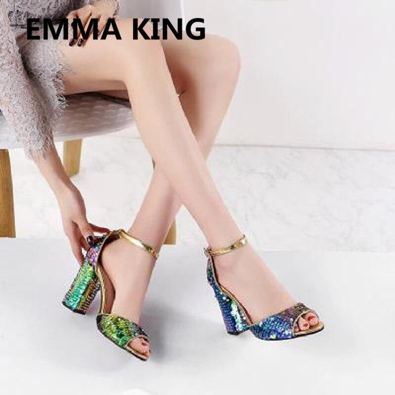 Nova Glitter Bling Bling Sandálias Das Mulheres Do Partido Tira No Tornozelo Do Dedo Do Pé Aberto Grossas de Salto Alto Senhoras Sapatos Da Moda Mulher Sandálias Gladiador - 5