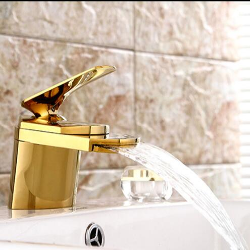 ФОТО New Arrivals bathroom faucet high quality waterfall faucet total brass gold finished bathroom sink waterfall faucet basin faucet