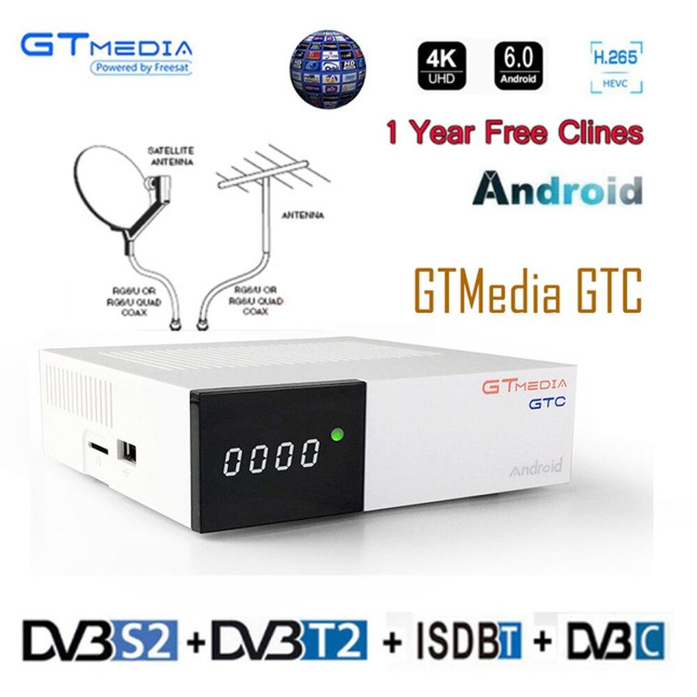 IPTV Freesat GTC FTA Ricevitore Satellitare DVB S2 Biss VU Cccam Recettore DVB-C Sintonizzatore dvb T2 4 k Android tv scatola di ISDB-T Bluetooth 4.0