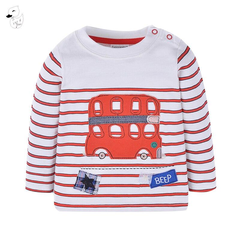 BINIDUCKLING Baby Boy Sweatshirt Car applique Children Autumn Long Sleeve Tops Boys Clothes Striped Kids Tshirts for Boy 2018