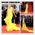 Cd03 vestido de la celebridad Festival de Cannes 2015 Charlize Theron Long Train Red Carpet vestidos de noche vestidos de la celebridad vestidos noche