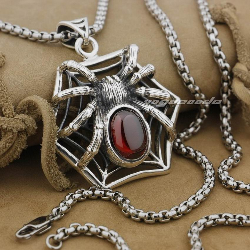Huge Heavy 925 Sterling Silver Red CZ Spider On Net Mens Biker Pendant 9J017 Stainless Steel