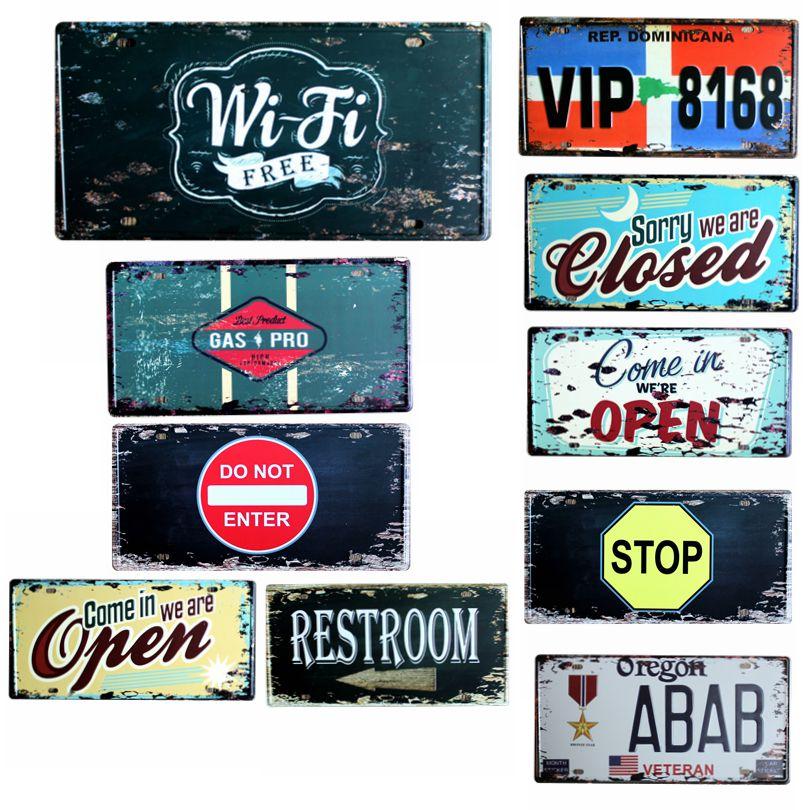 Wi Fi Free license plate Metal Painting Retro Signs Vintage Wall Bar Ktv Coffee Home Art Decor 30X15CM B-9059