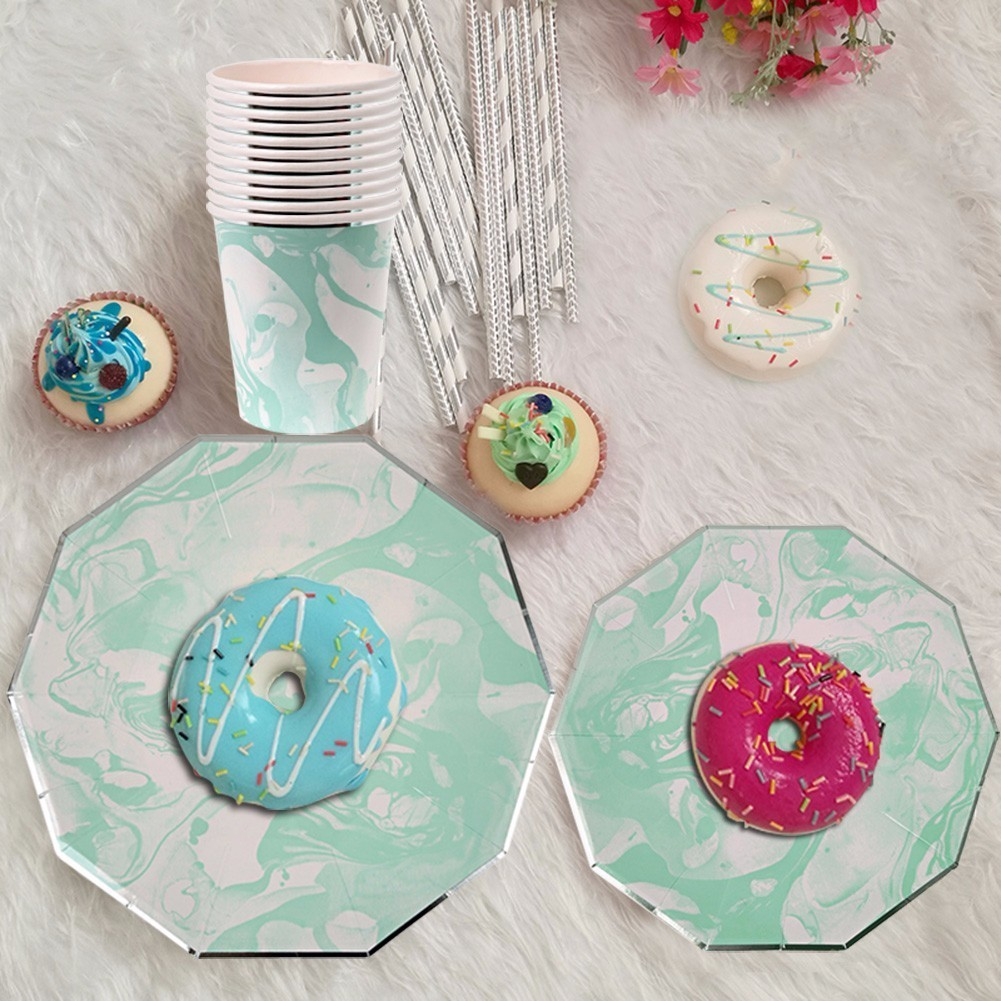 8Pcs/Set Mint Green Marble Stripes Disposable Tableware Party Paper Plates Cups For Wedding Christmas Party Favor Paper Napkins-in Disposable Party ...  sc 1 st  AliExpress.com & 8Pcs/Set Mint Green Marble Stripes Disposable Tableware Party Paper ...