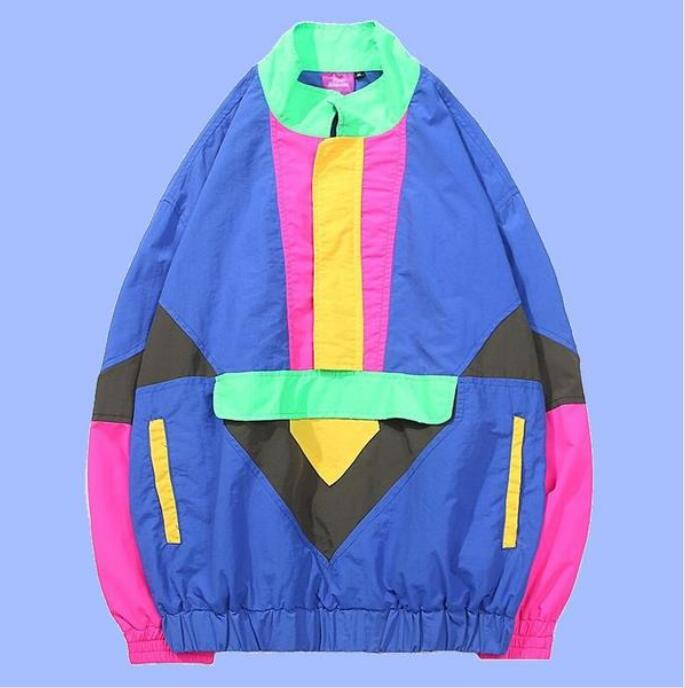 Vintage Spell Color Jacket Streetwear Mens Casual Track Jacket Coat-in Jackets from Men's Clothing    1