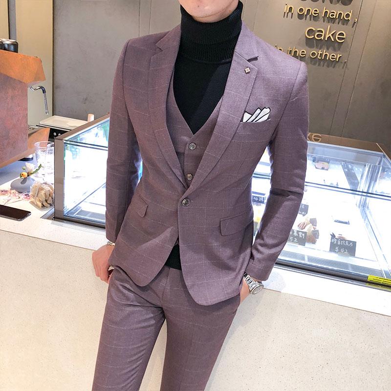 Asian size2019 Luxurious Fashion Suit Men Plaid Print 3 Pieces Set Latest Designs Wedding dress GroomsmenSlim Fit Costume(China)