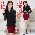 Winter Women Shirts Keep Warm Upset Add Wool Slim Lace Brought Ol Blouse Shirt White Black 9057