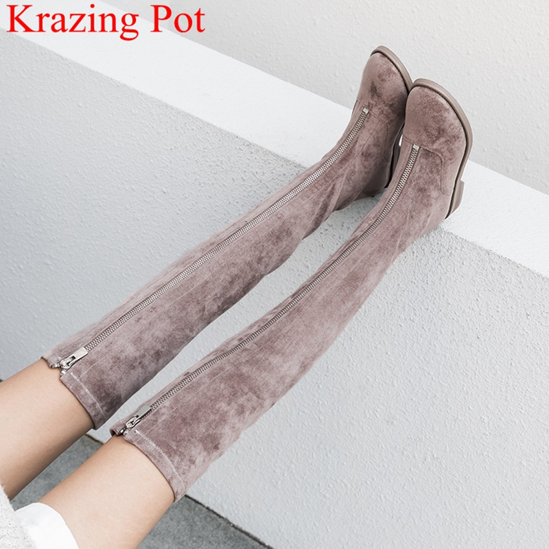 2019 Superstar Round Flock Concise Elegant Zipper Thick Heel Women Over The Knee Boots Runway Office Lady Thigh High Boots L3f1