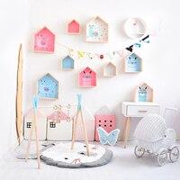 غرفة الاطفال الديكور رف خشبي للأطفال غرفة الحضانة الديكور جدار رف خشبي للأطفال صبي فتاة ديكورات للحائط الجرف