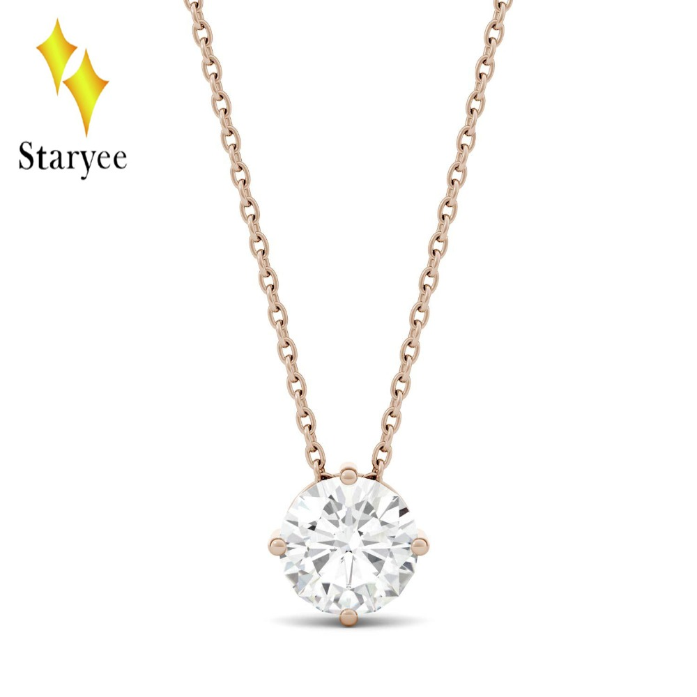 Genuine 18K 750 Rose Gold 1CT Hearts Arrows Test Positive Lab Grown Moissanite Diamond Engagement Pendant Necklace Chain Women 18k 750 white gold pendant gh color round lab grown moissanite double heart necklace diamond pendant necklace for women jewelry