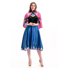 Disney Frozen Princess Elsa Anna Dress Fancy Outfit Clothes Party Gown Cosplay Anime Costume Adult Halloween Costumes For Women